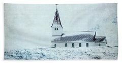 Vik I Myrdal Church In Snow Hand Towel