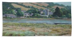 Bath Towel featuring the painting Village Of Axmouth On The River Axe by Martin Davey