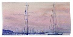 Vineyard Twilight Watercolor Bath Towel