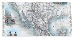 Vingage Map Of Texas, California And Mexico Bath Towel