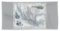 Vingage Map Of Texas, California And Mexico Bath Towel
