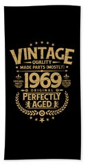 Vintage 50th Birthday Funny Tshirt 1969 Perfectly Aged Hand Towel