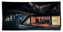 Vintage Chicago L Station At Night Hand Towel