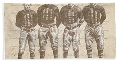 Bath Towel featuring the drawing Vintage Football Heroes by Clint Hansen