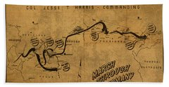 Vintage Map Of 355th Regiment March Through Germany Hand Towel