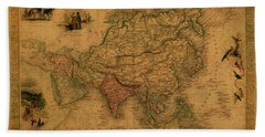 Vintage Map Of Asia Hand Towel