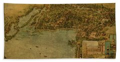 Vintage Map Of Beijing China Summer Palace 1954 Hand Towel