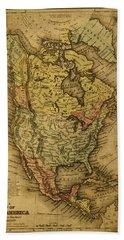 Vintage Map Of North America 1858 Bath Towel
