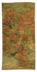 Vintage Map Of Russia In Western Europe Hand Towel