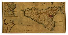 Vintage Map Of Sicily 1768 Hand Towel
