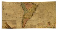 Vintage Map Of South America 1715 Bath Towel