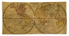 Vintage Map Of The World 1798 Hand Towel