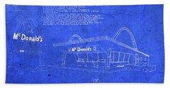 Vintage Original Mcdonalds Restaurant Blueprints Hand Towel