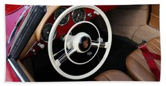 Bath Towel featuring the photograph Vintage Red Convertible Interior by Debi Dalio