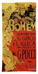 Vintage Poster By Adolfo Hohenstein For Opera La Boheme By Giacomo Puccini Bath Towel