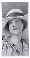 Vintage Woman In Brim Hat Hand Towel