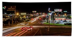 Washington Road At Night - Augusta Ga Bath Towel