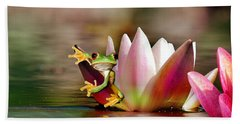 Water Lily And Frog Bath Towel