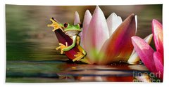 Water Lily And Frog Hand Towel