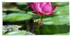 Water Lily And Little Frog Bath Towel
