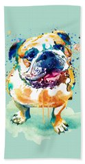 Watercolor Bulldog Bath Towel