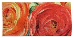 Watercolor Ranunculus Flowers Close Up  Bath Towel