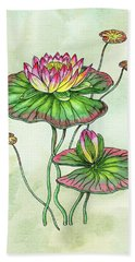 Watercolor Water Lily Botanical Flower Hand Towel