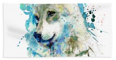 Watercolor Wolf Portrait Hand Towel