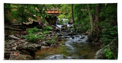 Waterfall With Wooden Bridge Hand Towel