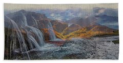 Waterfalls In The Mountains Hand Towel
