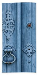 Weathered Blue Door Lock Bath Towel