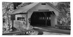 West Dummerston Covered Bridge Black And White Hand Towel
