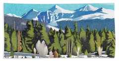 Hand Towel featuring the drawing Western Slope Winter by Dan Miller