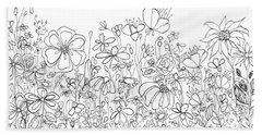 Whimsical Flower Garden, Line Art Doodles Hand Towel