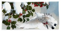 White Dove And Holly Hand Towel