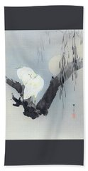 White Egret And Moon - Digital Remastered Edition Bath Towel