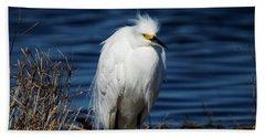 White Egret Hand Towel
