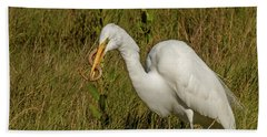 White Heron With Snake Hand Towel