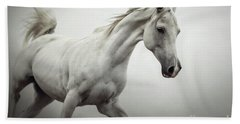 Bath Towel featuring the photograph White Horse On The White Background Equestrian Beauty by Dimitar Hristov
