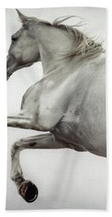 Bath Towel featuring the photograph White Horse Rearing Up by Dimitar Hristov