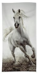 Bath Towel featuring the photograph White Horse Running In Winter Mist by Dimitar Hristov