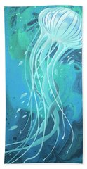 White Jellyfish Hand Towel