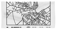 White Map Of Helsinki Bath Towel