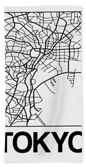 White Map Of Tokyo Hand Towel