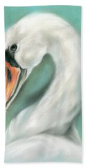 White Swan Portrait Hand Towel