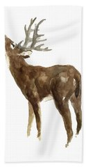 White Tailed Deer Stag With Head Tilted Upwards Hand Towel