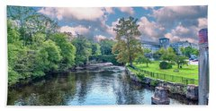 Willimantic River With Clouds Bath Towel
