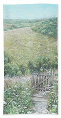 Bath Towel featuring the painting Winchester Hill Area In Hampshire During Summer by Martin Davey