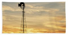 Hand Towel featuring the photograph Windmill At Sunset 02 by Rob Graham