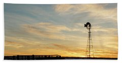 Hand Towel featuring the photograph Windmill At Sunset 04 by Rob Graham